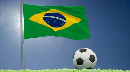 felhőtlen : Flag of Brazil fluttering and a football rolls on the lawn, 3d rendering, 4k footage Stock mozgókép