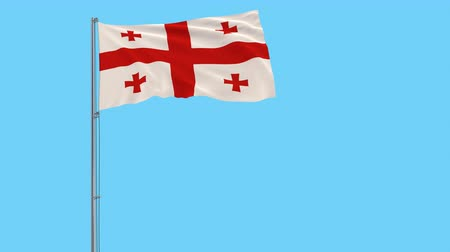 Грузия : Isolate flag of Georgia on a flagpole fluttering in the wind on a transparent background, 3d rendering, 4k prores footage, alpha transparency