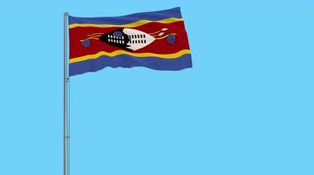 eswatini : Isolate flag of Kingdom of eSwatini - Swaziland on a flagpole fluttering in the wind on a transparent background, 3d rendering, 4k prores footage, alpha transparency