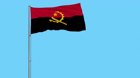 machete : Isolate flag of Angola on a flagpole fluttering in the wind on a transparent background, 3d rendering, 4k prores footage, alpha transparency