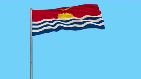 Полинезия : Isolate flag of Kiribati on a flagpole fluttering in the wind on a transparent background, 3d rendering, 4k prores footage, alpha transparency