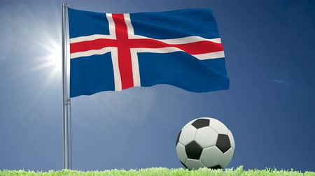 felhőtlen : Flag of Iceland fluttering and a football rolls on the lawn, 3d rendering, 4k footage
