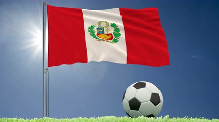 lima : Flag of Peru fluttering and a football rolls on the lawn, 3d rendering, 4k footage Stock Footage