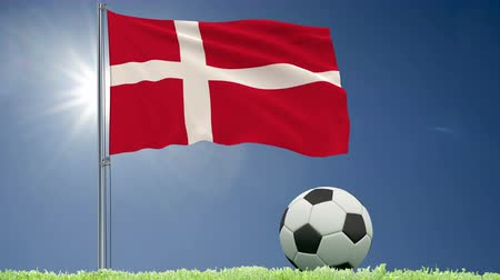 lutheran : Flag of Denmark fluttering and a football rolls on the lawn, 3d rendering, 4k footage
