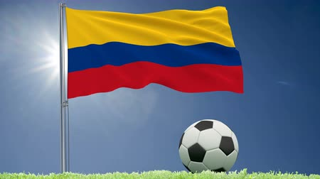 bogota : Flag of Colombia fluttering and a football rolls on the lawn, 3d rendering, 4k footage