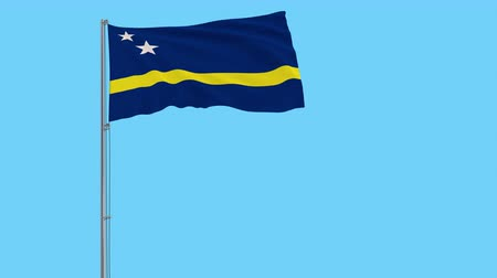 tło : Isolate flag of Curacao on a flagpole fluttering in the wind on a transparent background, 3d rendering, 4k prores footage, alpha transparency