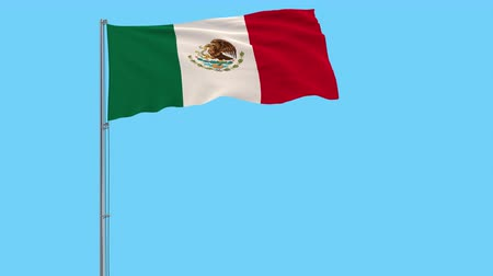 Észak amerika : Isolate flag of Mexico on a flagpole fluttering in the wind on a transparent background, 3d rendering, 4k prores footage, alpha transparency