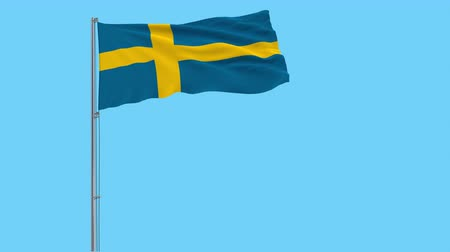 stockholm : Isolate flag of Sweden on a flagpole fluttering in the wind on a transparent background, 3d rendering, 4k prores footage, alpha transparency