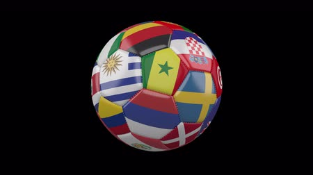 Колумбия : Rotating soccer ball with flags of the countries of the world on a transparent black background, 4k