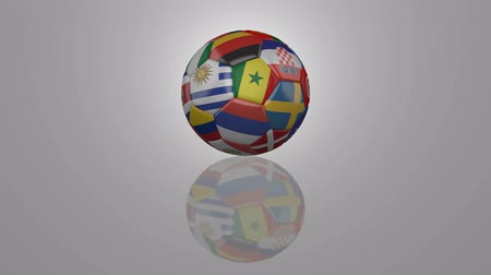 Уругвай : Soccer ball with flags participating in Sport  rotates on a reflective surface, 3D rendering, 4K foot, loop