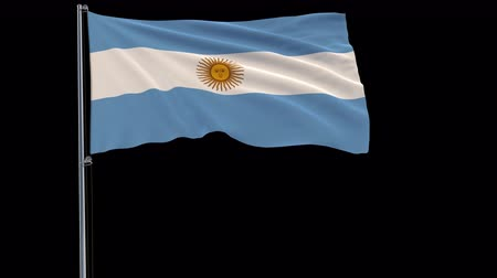 aires : Isolate flag of Argentina on a flagpole fluttering in the wind on a transparent background, 3d rendering, 4k prores 4444 footage with alpha transparency
