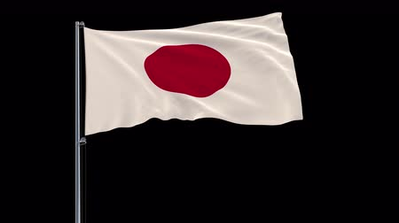 tokyo government : Isolate flag of Japan on a flagpole fluttering in the wind on a transparent background, 3d rendering, 4k prores 4444 footage with alpha transparency Stock Footage