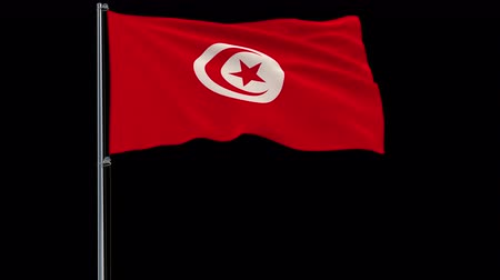 tunisia : Isolate flag of Tunisia on a flagpole fluttering in the wind on a transparent background, 3d rendering, 4k prores 4444 footage with alpha transparency
