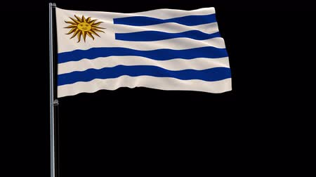 Уругвай : Isolate flag of Uruguay on a flagpole fluttering in the wind on a transparent background, 3d rendering, 4k prores 4444 footage with alpha transparency