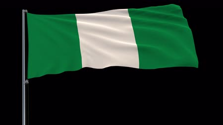 abuja : Isolate flag of Nigeria on a flagpole fluttering in the wind on a transparent background, 3d rendering, 4k prores 4444 footage with alpha transparency Stock Footage