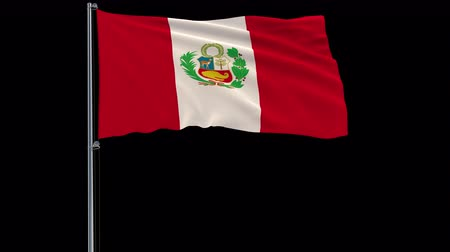 lima : Isolate flag of Peru on a flagpole fluttering in the wind on a transparent background, 3d rendering, 4k prores 4444 footage with alpha transparency Stock Footage