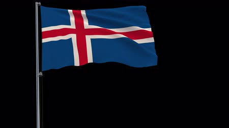 reykjavik : Isolate flag of Iceland on a flagpole fluttering in the wind on a transparent background, 3d rendering, 4k prores 4444 footage with alpha transparency Stock Footage