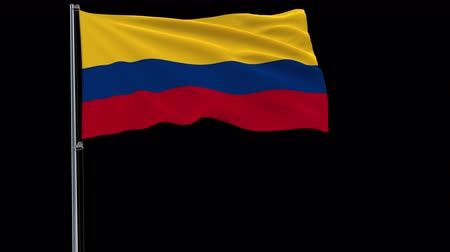 bogota : Isolate flag of Colombia on a flagpole fluttering in the wind on a transparent background, 3d rendering, 4k prores 4444 footage with alpha transparency