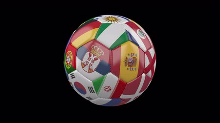 sérvia : Rotating soccer ball with flags of the countries of the world on a transparent background, 4k prores 4444 footage with alpha channel, loop