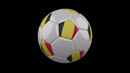 bruxelas : Soccer ball with Belgium flag colors rotates on transparent background, 3d rendering, prores 4444 with alpha channel, loop