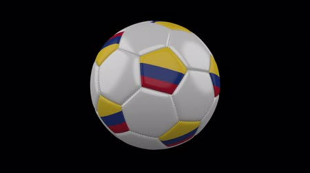 bogota : Soccer ball with Colombia flag colors rotates on transparent background, 3d rendering, prores 4444 with alpha channel, loop