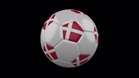 copenhagen : Soccer ball with Denmark flag colors rotates on transparent background, 3d rendering, prores 4444 with alpha channel, loop Stock Footage