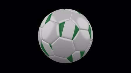 abuja : Soccer ball with Nigeria flag colors rotates on transparent background, 3d rendering, prores 4444 with alpha channel, loop