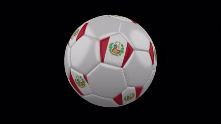 seams : Soccer ball with Peru flag colors rotates on transparent background, 3d rendering, prores 4444 with alpha channel, loop