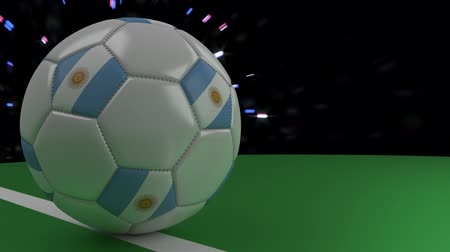 aires : Soccer ball with the flag of Argentina crosses the goal line under the salute, 3D rendering