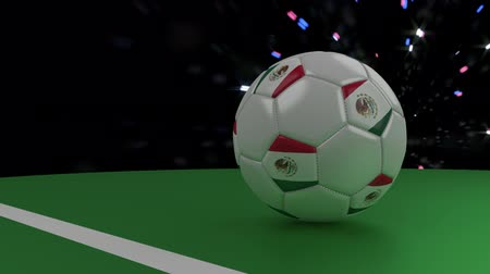 mexico city : Soccer ball with the flag of Mexico crosses the goal line under the salute, 3D rendering Stock Footage