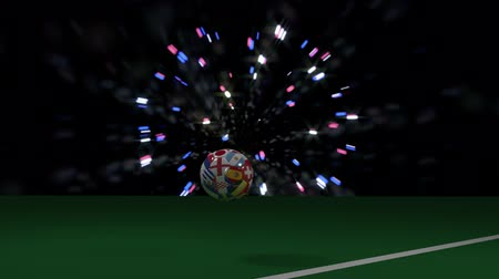 final round : Soccer ball with flags of countries of soccer jumps and rolls crossing football goal line, 3d rendering, prores footage