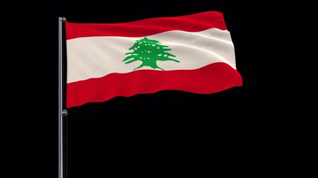 sedir : Isolate big flag of Lebanon on a flagpole fluttering in the wind on a transparent background, 3d rendering, 4k prores 4444 footage with alpha transparency Stok Video