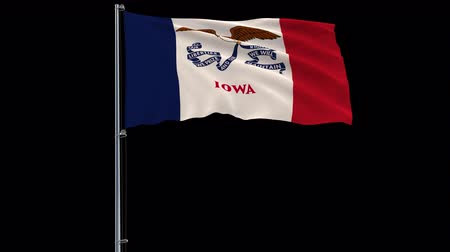 iowa : Isolate flag of United States Iowa on flagpole fluttering in wind, 3d rendering, 4k prores 4444 footage with alpha transparency