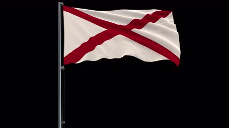 alabama : Isolate flag of United States Alabama on flagpole fluttering in wind, 3d rendering, 4k prores 4444 footage with alpha transparency