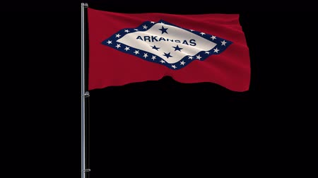 oficiální : Isolate flag of United States Arkansas on flagpole fluttering in wind, 3d rendering, 4k prores 4444 footage with alpha transparency