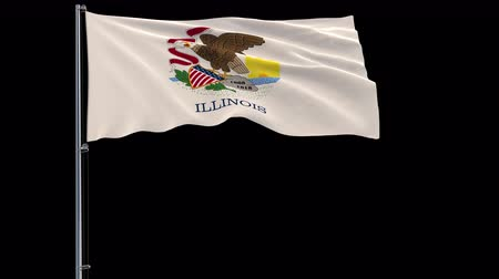 áttekinthetőség : IIsolate flag of United States Illinois on flagpole fluttering in wind, 3d rendering, 4k prores 4444 footage with alpha transparency