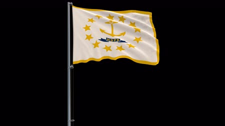 rhode : IIsolate flag of United States Rhode Island on flagpole fluttering in wind, 3d rendering, 4k prores 4444 footage with alpha transparency Stock Footage