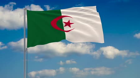 algeria : Flag of Algeria against the background of clouds floating on the blue sky. Stock Footage
