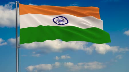 blue flag : Flag of India against background of clouds floating on the blue sky Stock Footage