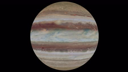 áttekinthetőség : Jupiter makes a full turn around its axis on a transparent background, loop, 4k prores footage with alpha channel.