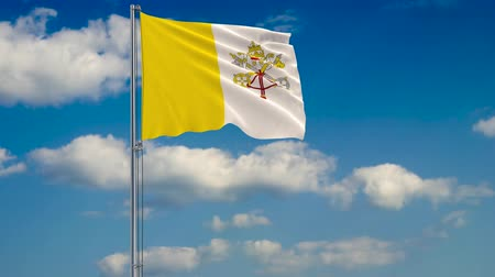 papież : Flag of Vatican against background of clouds floating on the blue sky. Wideo