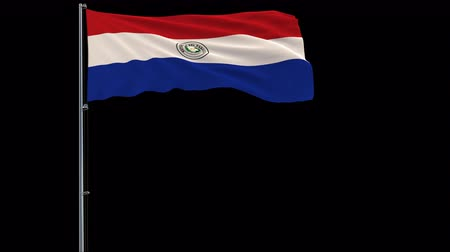 proportions : Isolate big flag of Paraguay on a flagpole fluttering in the wind on a transparent background, 3d rendering, 4k prores 4444 footage with alpha transparency
