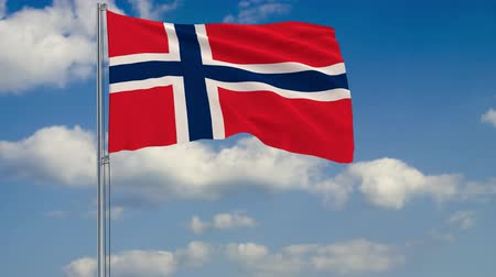 proportions : Flag of Norway against background of clouds floating on the blue sky. Stock Footage