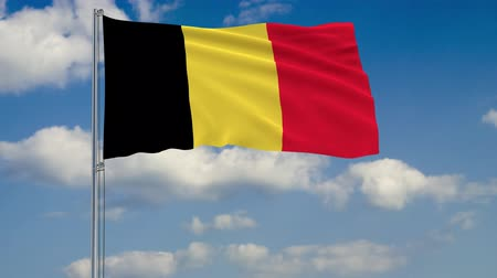 belga : Flag of Belgium against background of clouds floating on the blue sky Vídeos