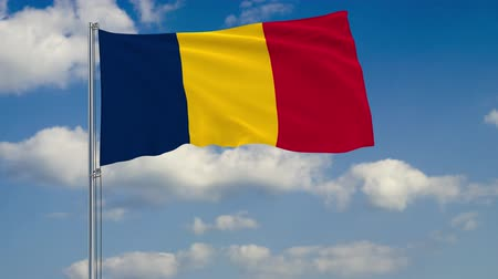 чад : Flag of Chad against background of clouds floating on the blue sky
