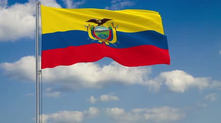 quito : Flag of Ecuador against background of clouds floating on the blue sky Stock Footage