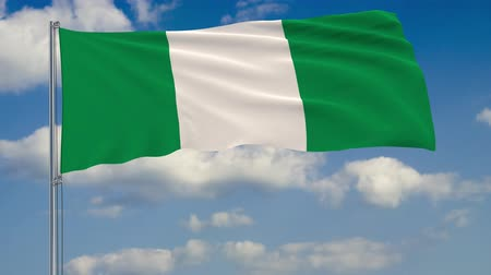 nigeria : Flag of Nigeria against background of clouds floating on the blue sky