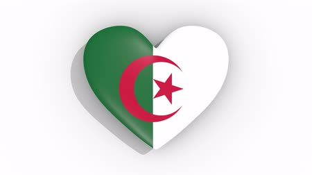 algeria : Heart in colors of flag of Algeria pulses, loop.