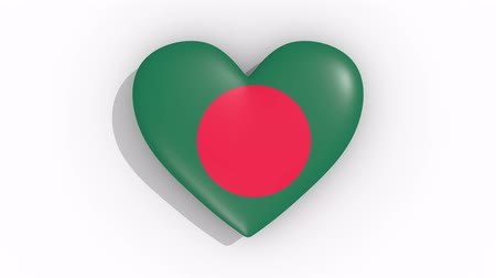 bengali : Heart in colors of flag of Bangladesh pulses, loop