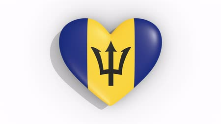 barbados : Heart in colors of flag of Barbados pulses, loop.
